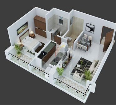Platinum 1 Bhk Floor Plan 3d view