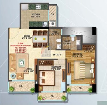 Platinum 2 Bhk Floor Plan