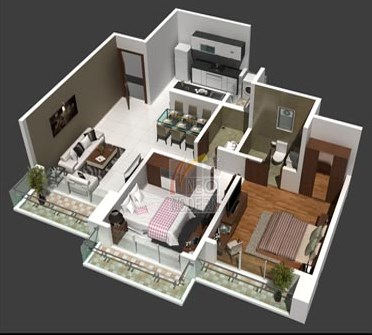 Platinum 2 Bhk Floor Plan 3d View