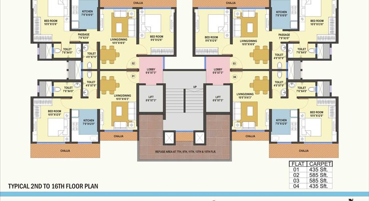 White Field 2 Bhk - 2nd to 16th Floor Plan