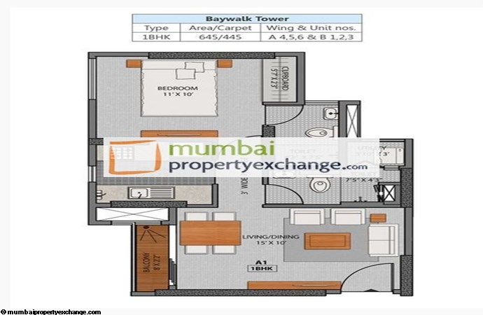 La Promenade Phase II 1 BHK Floor Plan