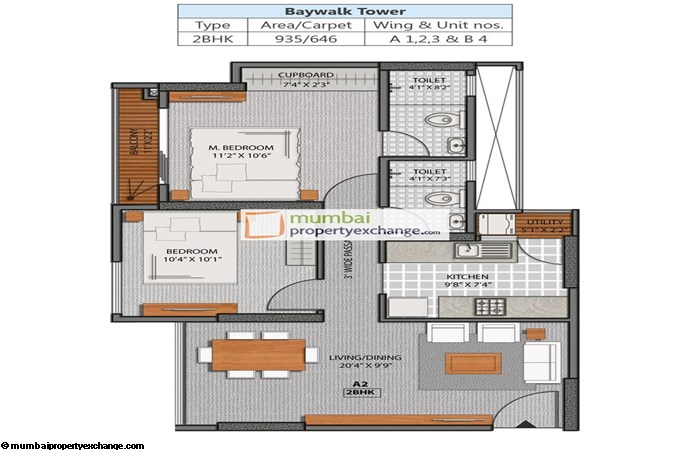 La Promenade Phase II 2 BHK Floor Plan