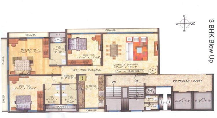 Mayfair Boulevard 3 BHK Floor Plan