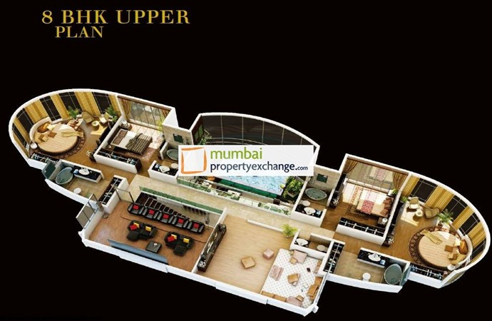 Worldin 8 BHK Upper Floor Plan