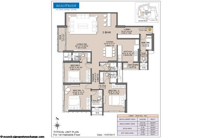 Sheth Beaupride Sheth Beaupride Typical Unit (03) Plan 3BHK