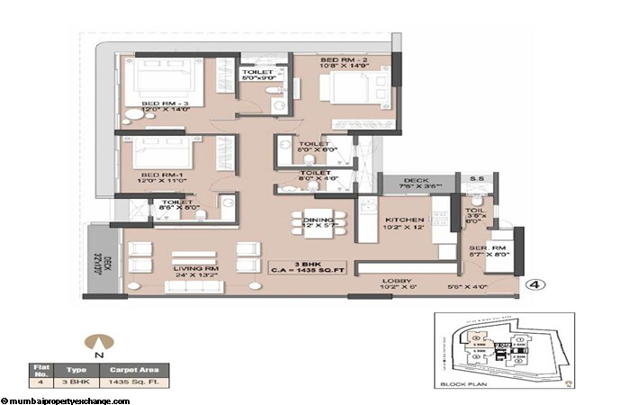 Sheth Beaupride Sheth Beaupride Typical Unit (04)  Plan 3BHK
