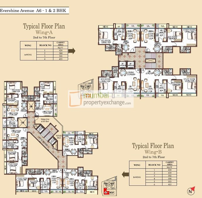 Wing A&B 2nd-7th Floor Plan
