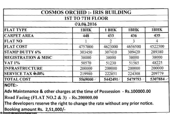 Cosmos Orchid Iris Cost Sheet