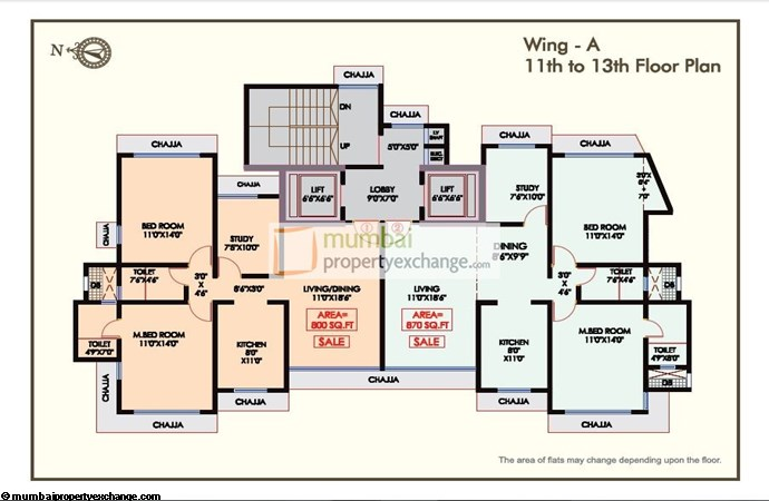 Udaka Heights Floor Plan A Wing 11th To 13th Floor