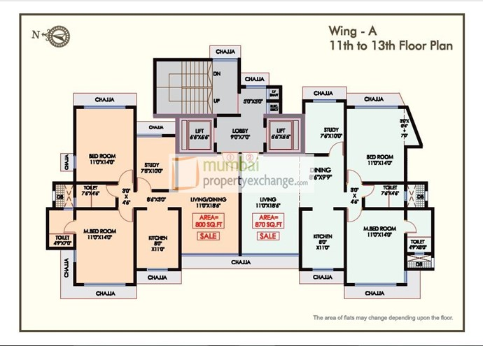 Floor Plan A Wing 11th To 13th Floor