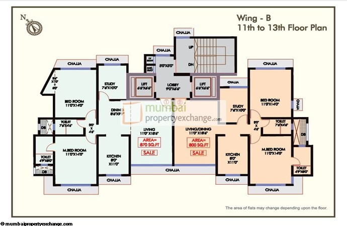 Udaka Heights Floor Plan B Wing 11th To 13th Floor