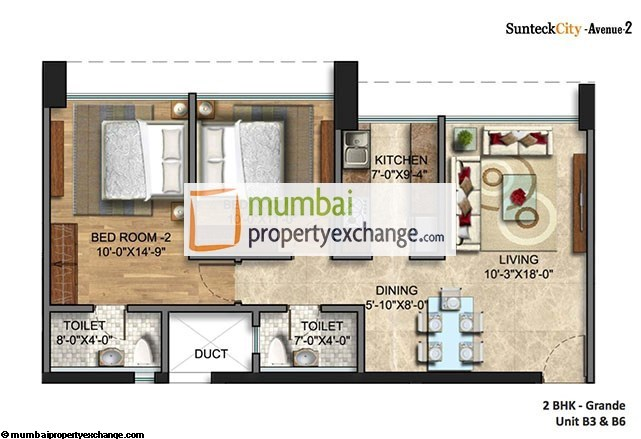 Sunteck City Avenue  2 BHK Plan