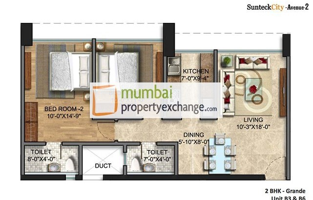 Sunteck City Avenue II 2 BHK Plan