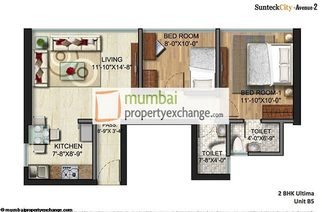 Sunteck City Avenue  2 BHK Unit Plan