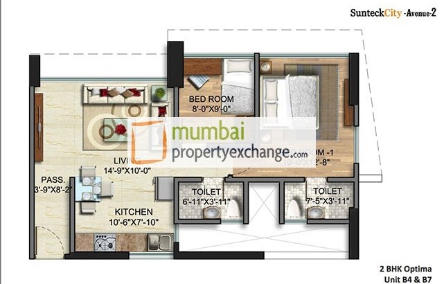 Sunteck City Avenue II 2 BHk Unit Plan