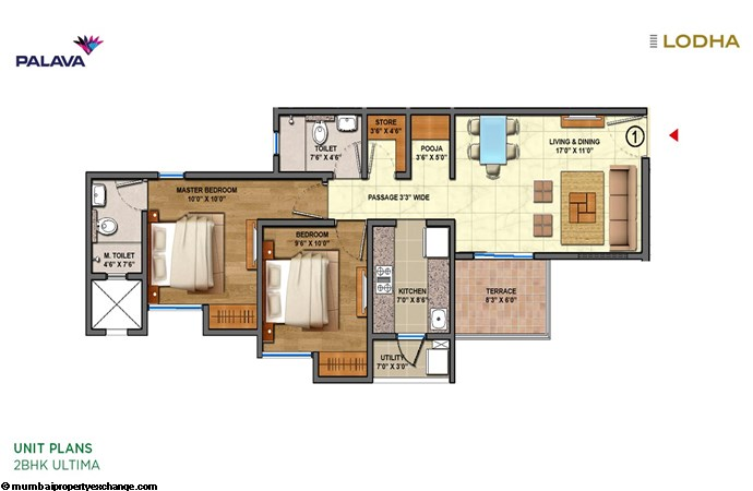 Lodha Lakeshore Greens Lodha Lakeshore Greens Unit-plan-2BHK-ultima-1