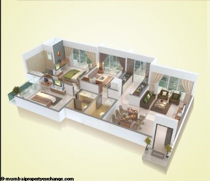 Ostwal Darshan 3 BHK Floor Plan