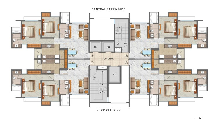 Lodha Luxuria Priva 2 BHK Plan