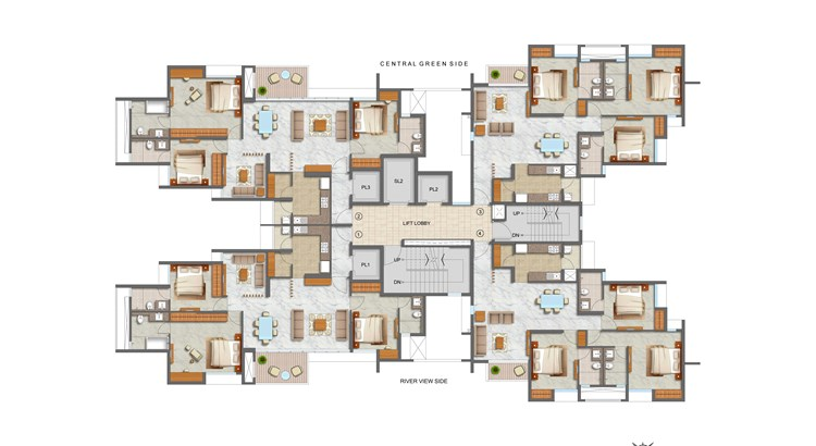 Lodha Luxuria Priva 3 BHK Plan