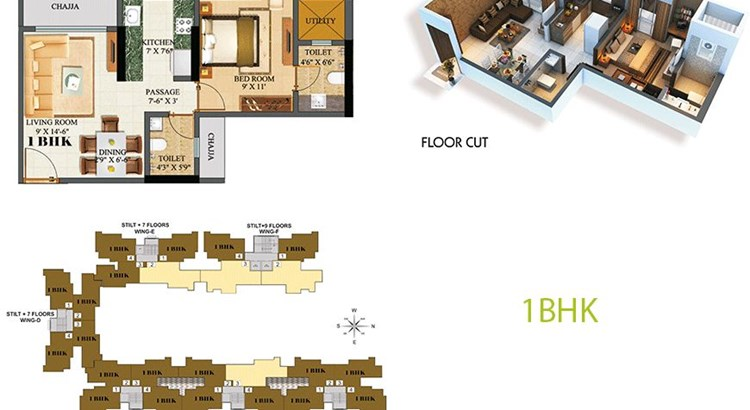 Sethia Green View 1BHK Plan