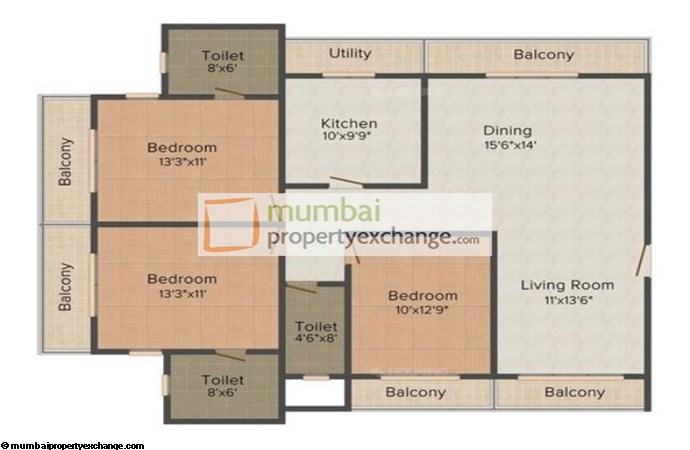 Kanyakumari Heights 3BHK plan