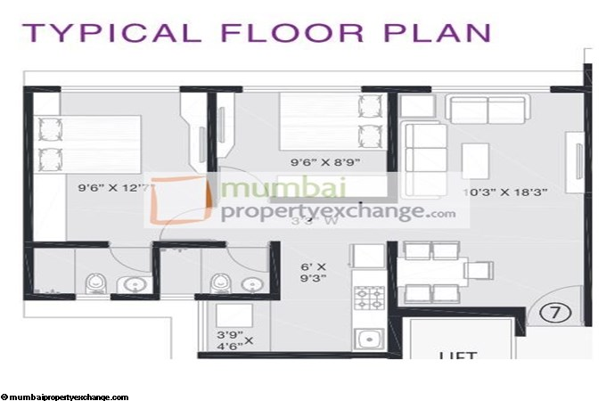 Platinum Corp Tower 2BHK Large
