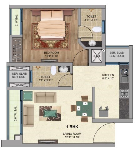 One Park Avenue 1BHK Plan Avenu 2