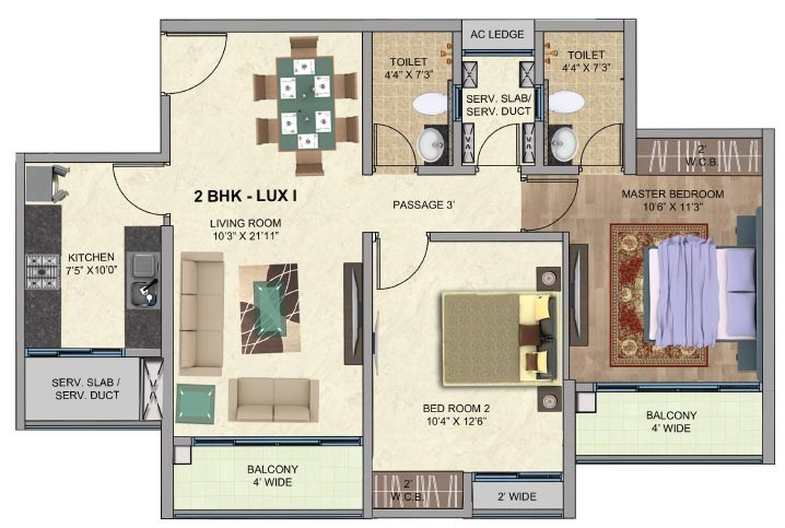 One Park Avenue 2BK Lux1 Plan Avenue 1