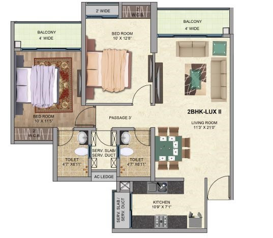One Park Avenue 2BK LuxII Plan Avenue 1