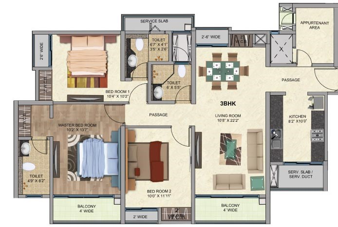 One Park Avenue 3BK Plan Avenue 1
