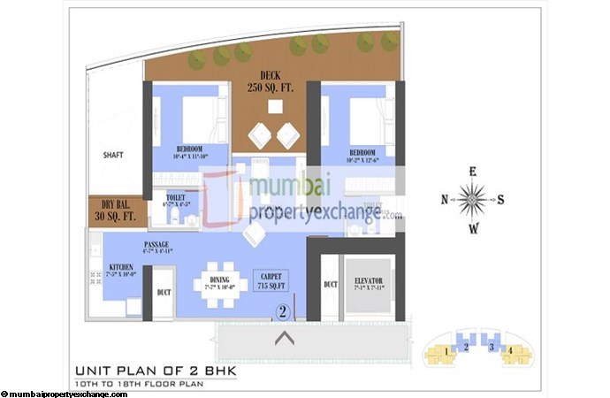Ruparel Jewel Floor Plan 2 BHK