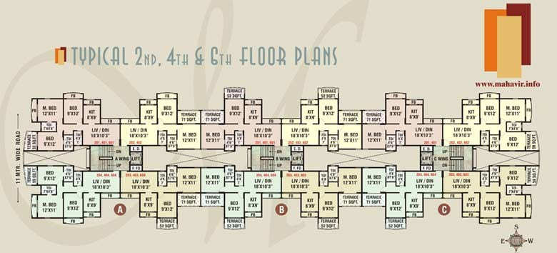 Mahavir Drishti 2nd 4th 6th floor plan