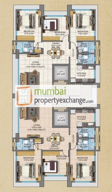 3BHK Floor plan