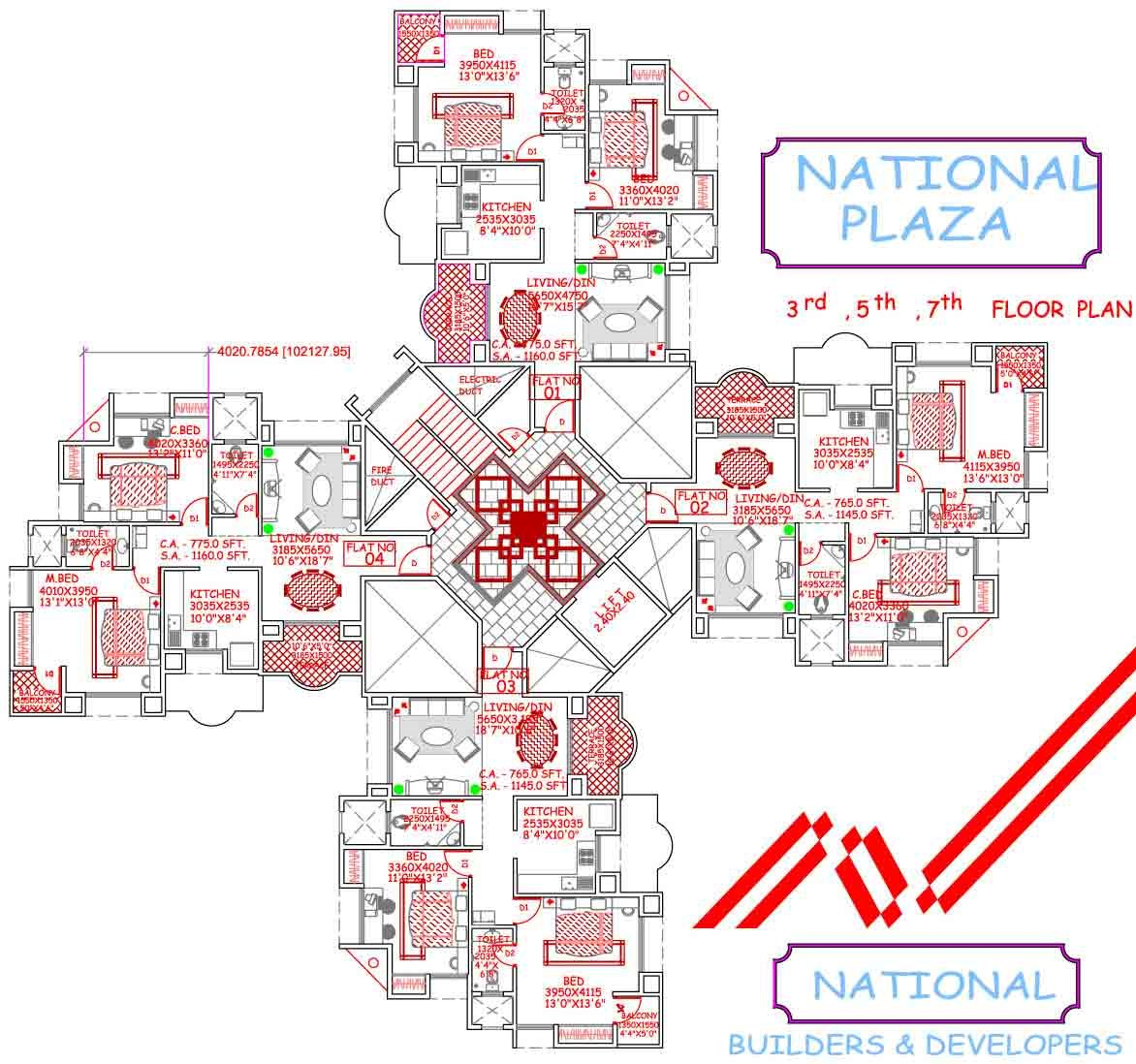 National Plaza 3rd,4th,7th floor plan