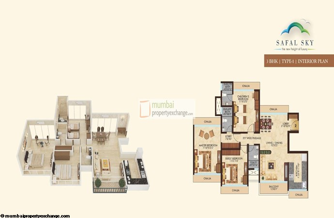 Safal Sky 3BHK Interior