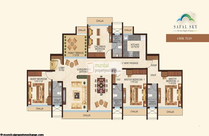 Safal Sky 4BHK Floor Plan
