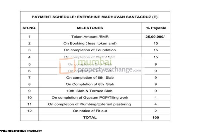 Evershine Madhuvan  Payment Schedule