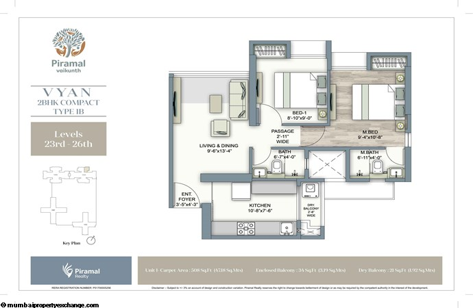 Piramal Vaikunth Vyan Piramal Vaikunth Vyan Typical Floorplan 2BHK Compact 1B (23-26)