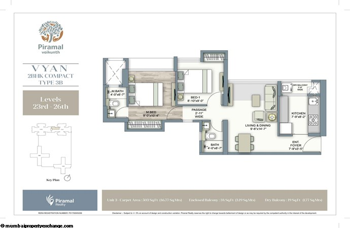 Piramal Vaikunth Vyan Piramal Vaikunth Vyan Typical Floorplan 2BHK Compact 3B (23-26)