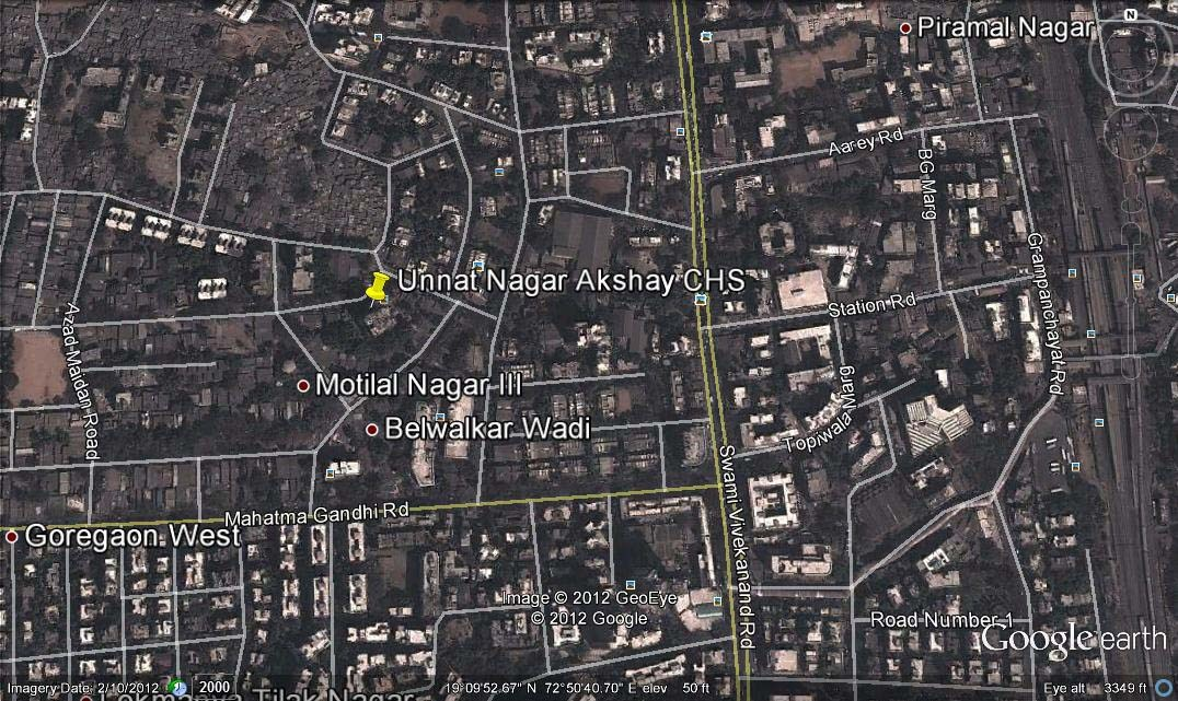 Unnat Nagar Akshay CHS Google Earth