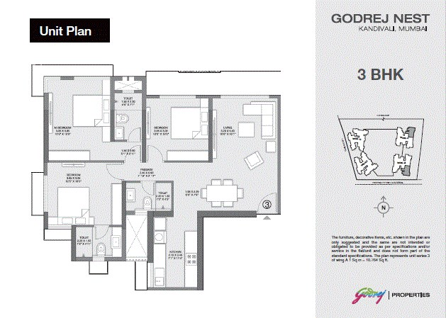 Godrej Nest 3BHK Plan