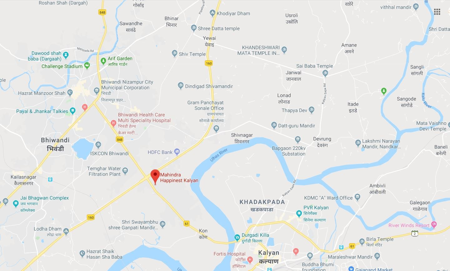 Happinest Kalyan Location Map