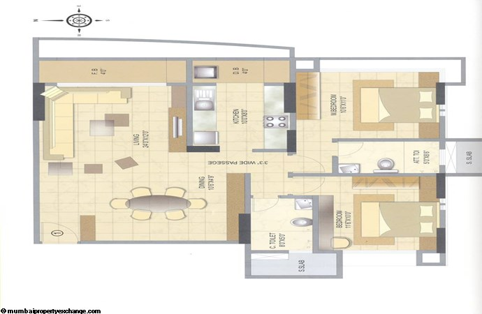 Vini Tower 2 BHK Floor Plan