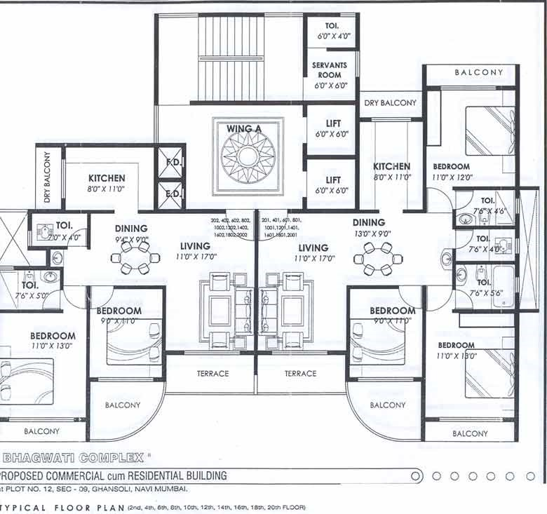 Bhagwati Complex Typical Even Floor Plan