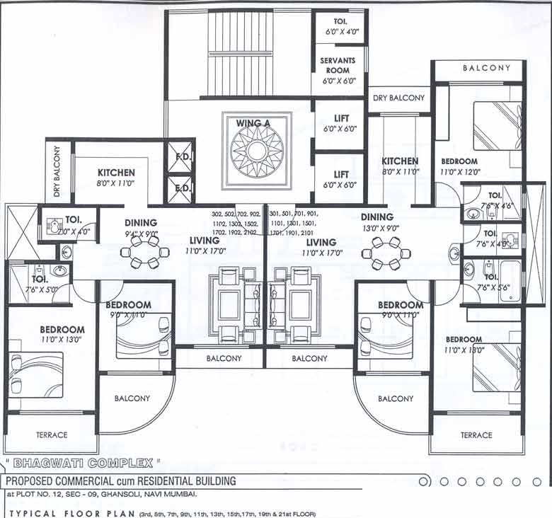 Bhagwati Complex Typical Odd Floor Plan