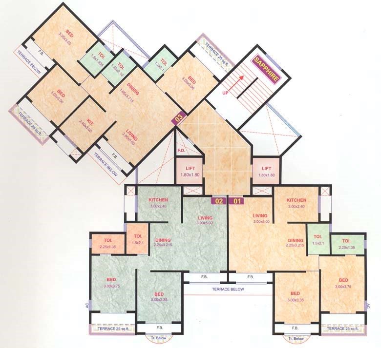 Pratik Gems Even Floor Plan