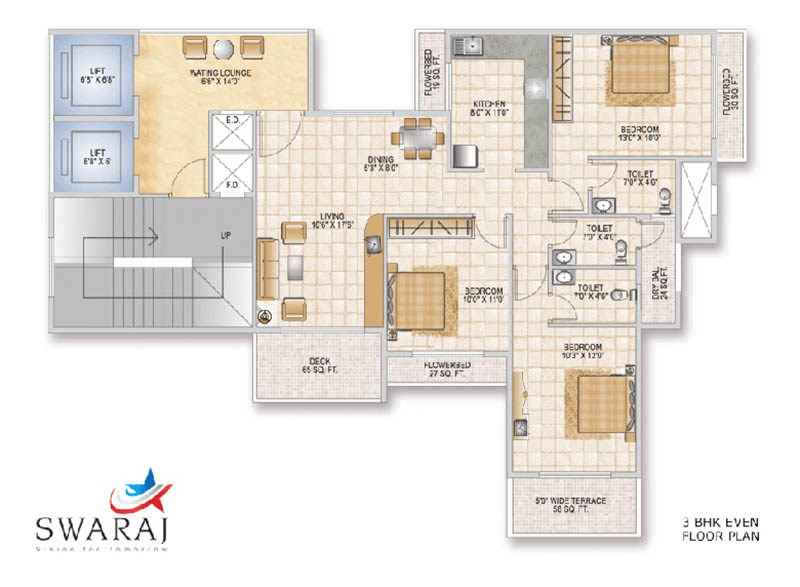 Swaraj Queen Bay 3 BHK Odd Floor Plan