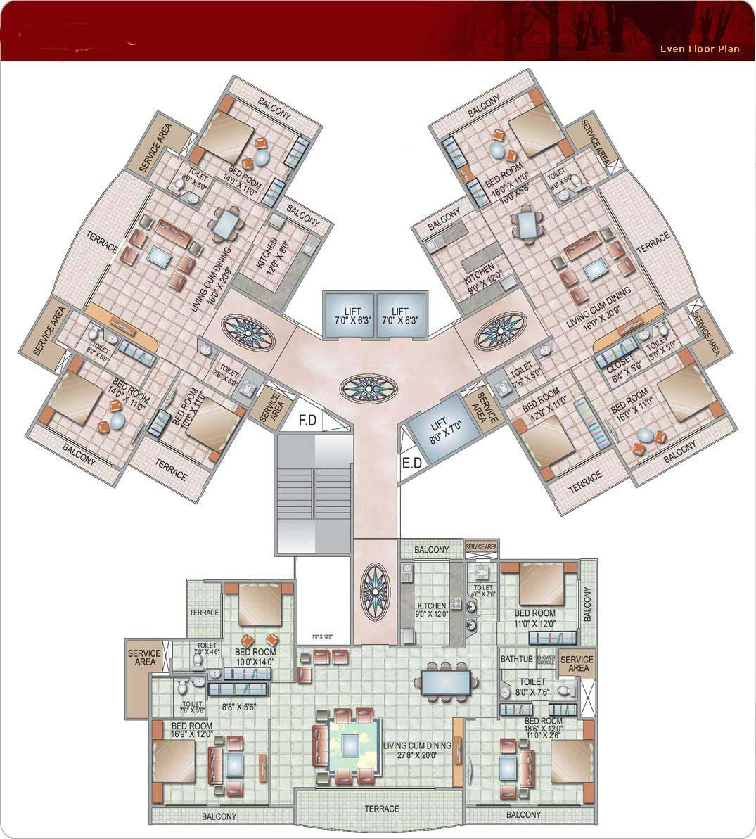 Siddhi Grandeur Even Floor Plan