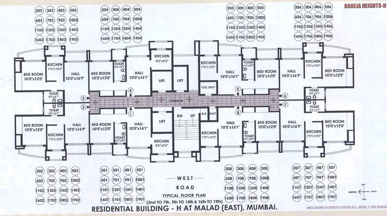 Raheja Heights H Wing Floor Plan