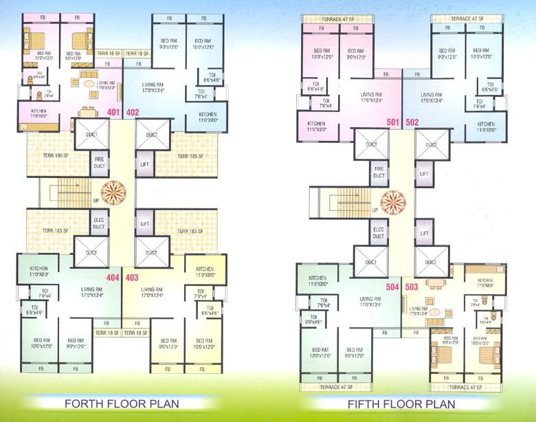 Nisarg Vihar 4th and 5th Floor Plan